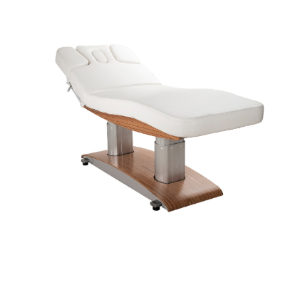 Electric massage bed and facial bed with sleek wood trim